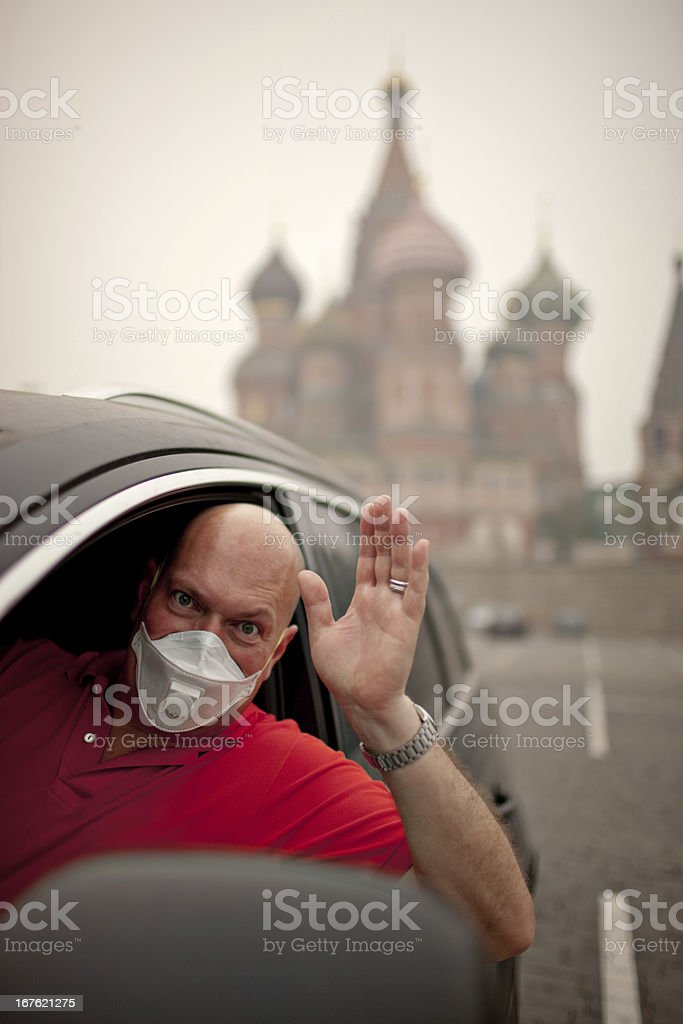 Mature Man sitting in his car royalty-free stock photo