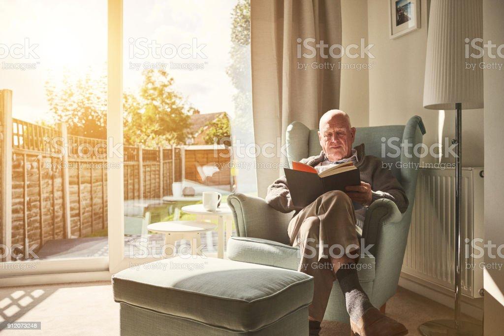 Reifer Mann im Sessel sitzen und ein Buch zu lesen – Foto