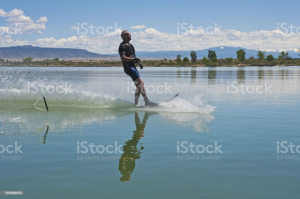 Mature Man Slalom Water Skiing royalty-free stock photo