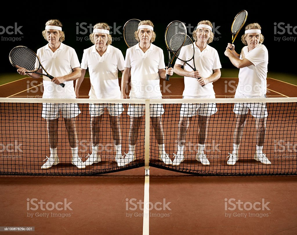 Mature man standing at net with tennis racket with various poses, multiple image foto de stock libre de derechos