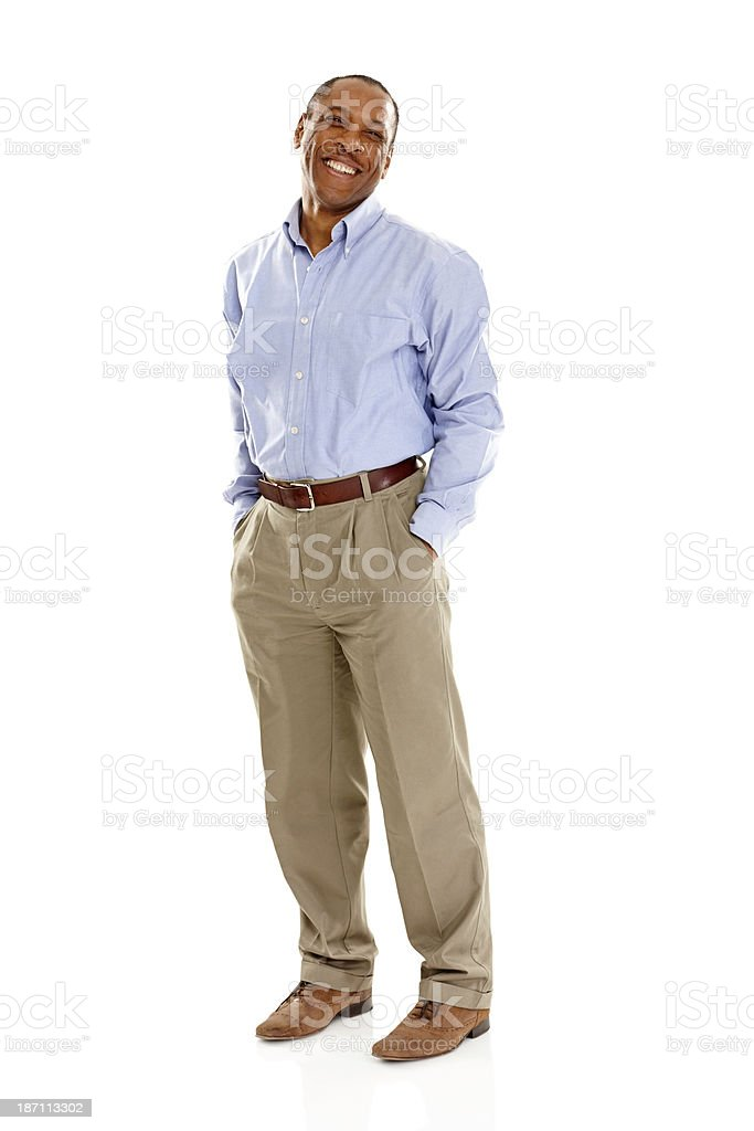 Mature man standing confidently over white royalty-free stock photo