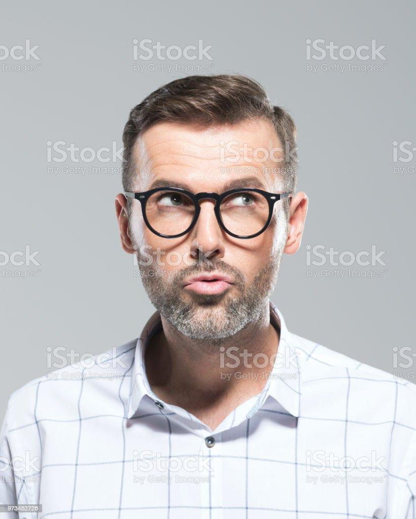 Reifer Mann, eine Idee - Lizenzfrei Betrachtung Stock-Foto