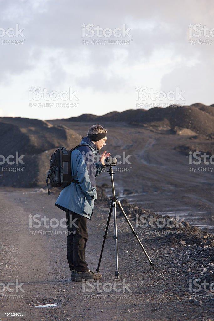 Mature Man using Camcorder stock photo