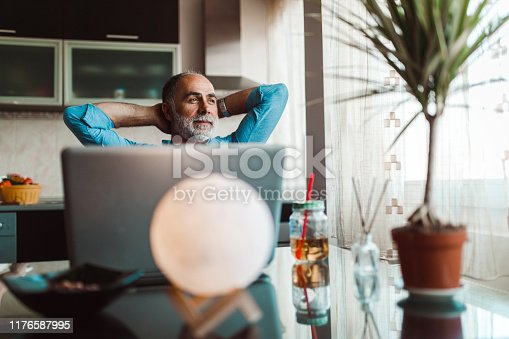 Handsome mature man working from home and using laptop