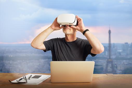 Mature Man Using Virtual Reality Headset