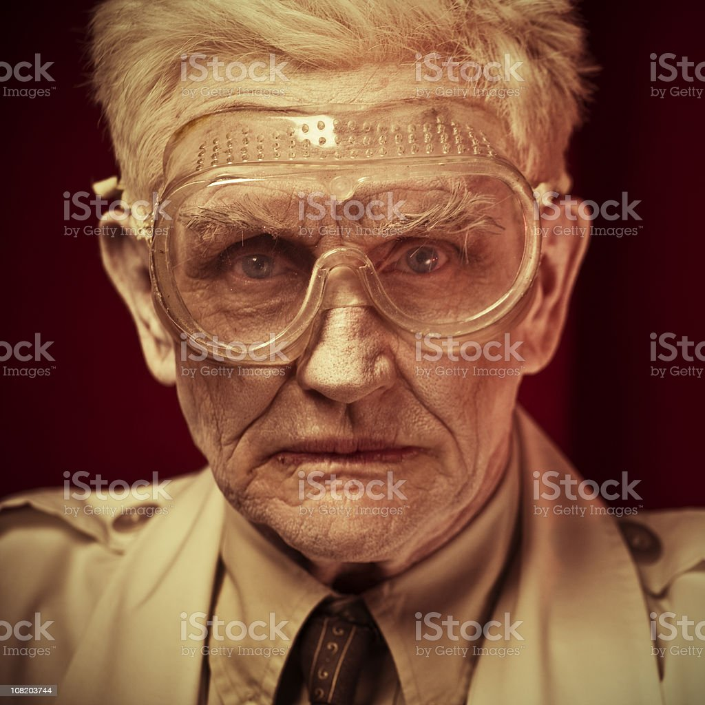mature man wearing protective glasses royalty-free stock photo