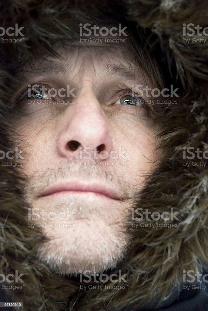 mature man wearing winter coat royalty-free stock photo