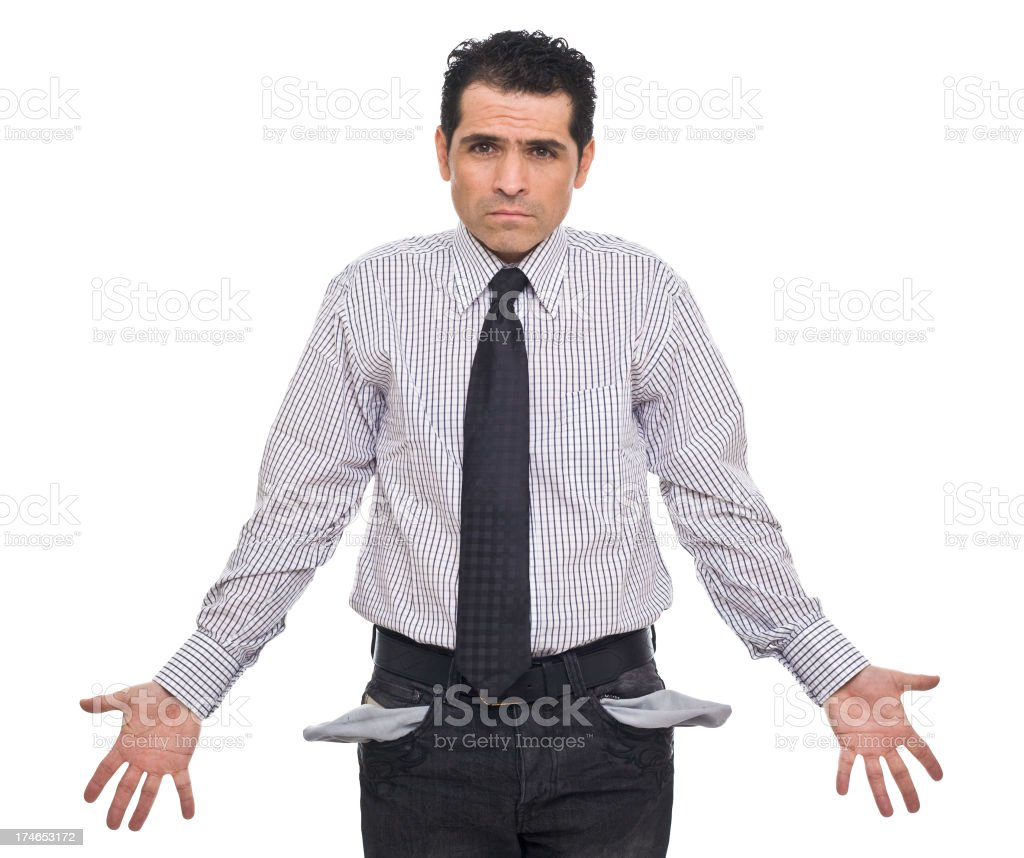 Mature Man With Empty Pockets, Portrait stock photo