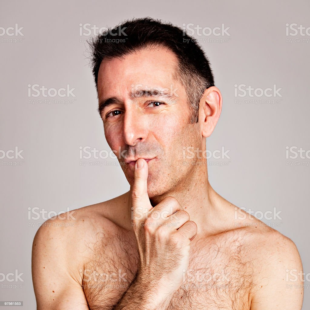 Mature man with funny assessment gesture royalty-free stock photo