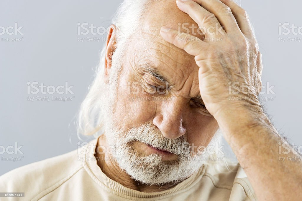 Mature man with headache. royalty-free stock photo