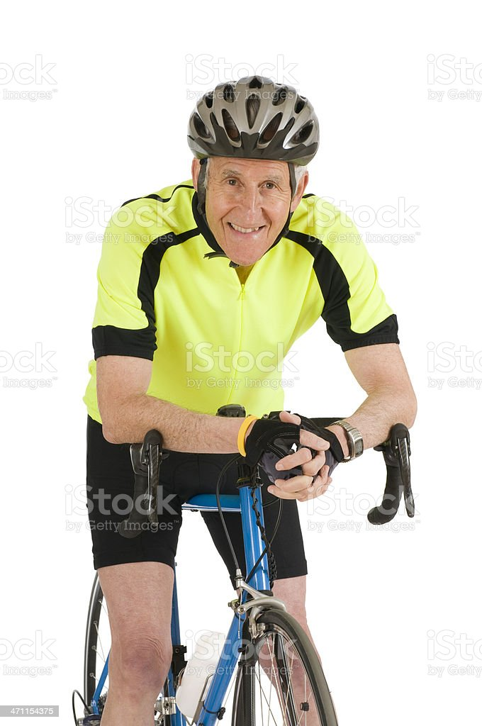 Mature Man With His Bike royalty-free stock photo