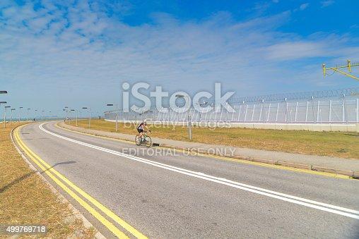istock Mature man with racing bicycle 499769718