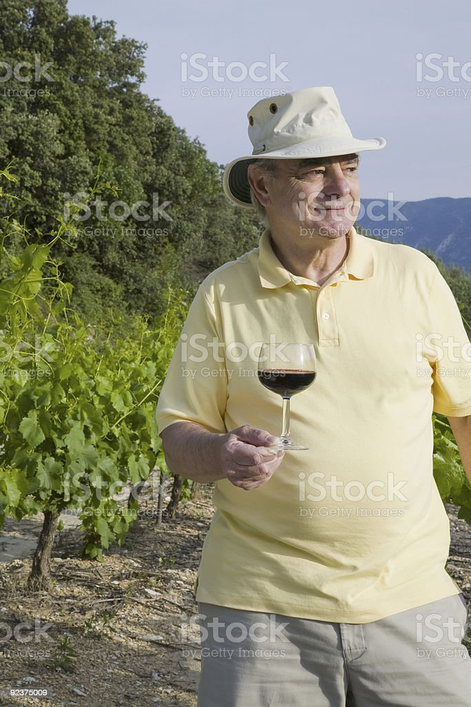 Mature Man with Wine royalty-free stock photo