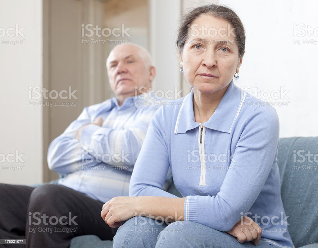 Mature married couple having quarrel royalty-free stock photo