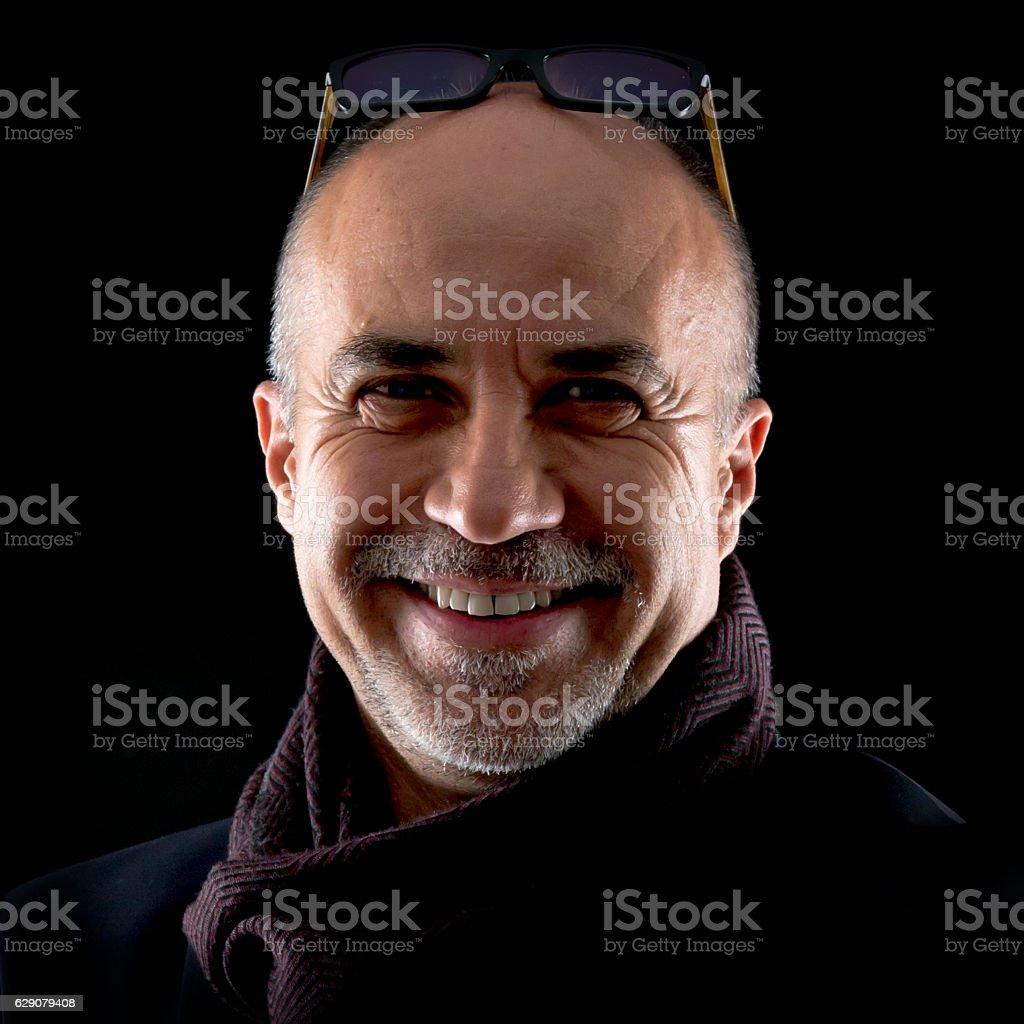 Mature middle age bald man stock photo