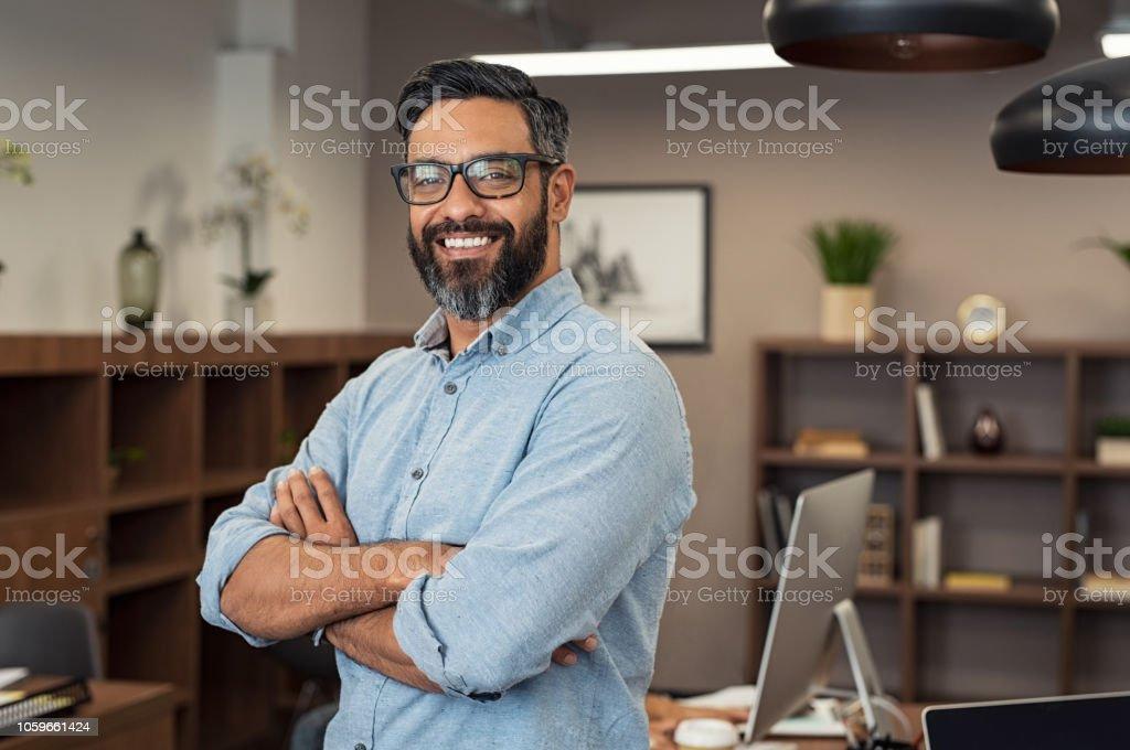 Hombre de negocios maduro de raza mixta foto de stock libre de derechos
