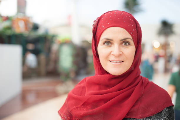 Mature muslim woman stock photo