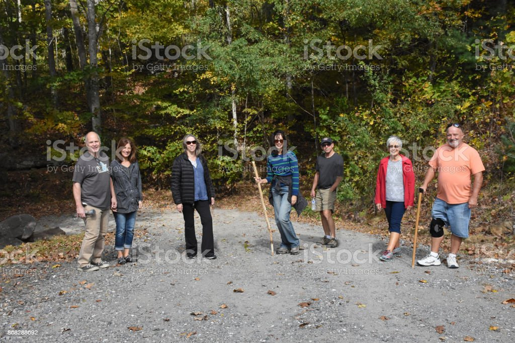 Mature older cousins going for a hike stock photo