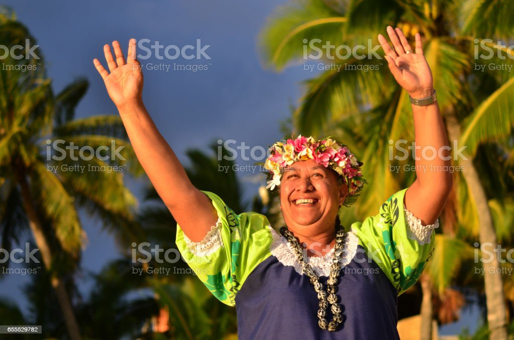 Mature Polynesian Pacific Island Woman stock photo