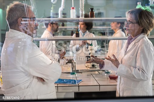 499203366 istock photo Mature scientists discussing about the research while working in laboratory. 673372410