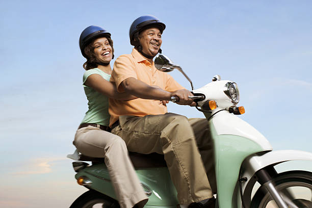 Mature Scooter Couple stock photo