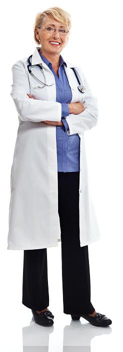 Mature Smiling Female Doctor Studio Portrait Stock Photo - Download Image Now