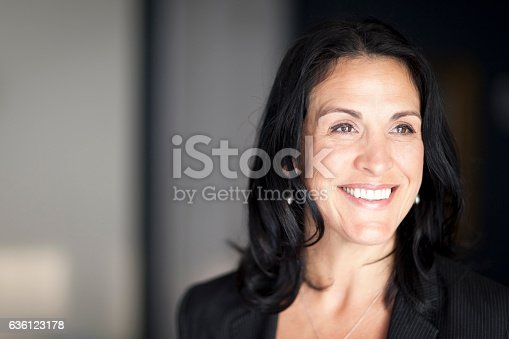 625010932istockphoto Mature Spanish Businesswoman Smiling And looking Away. At The Office. 636123178