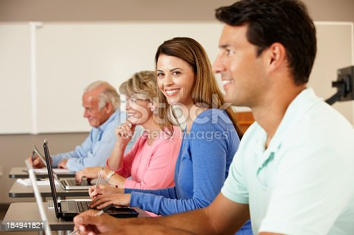 istock Mature student in class 184941821