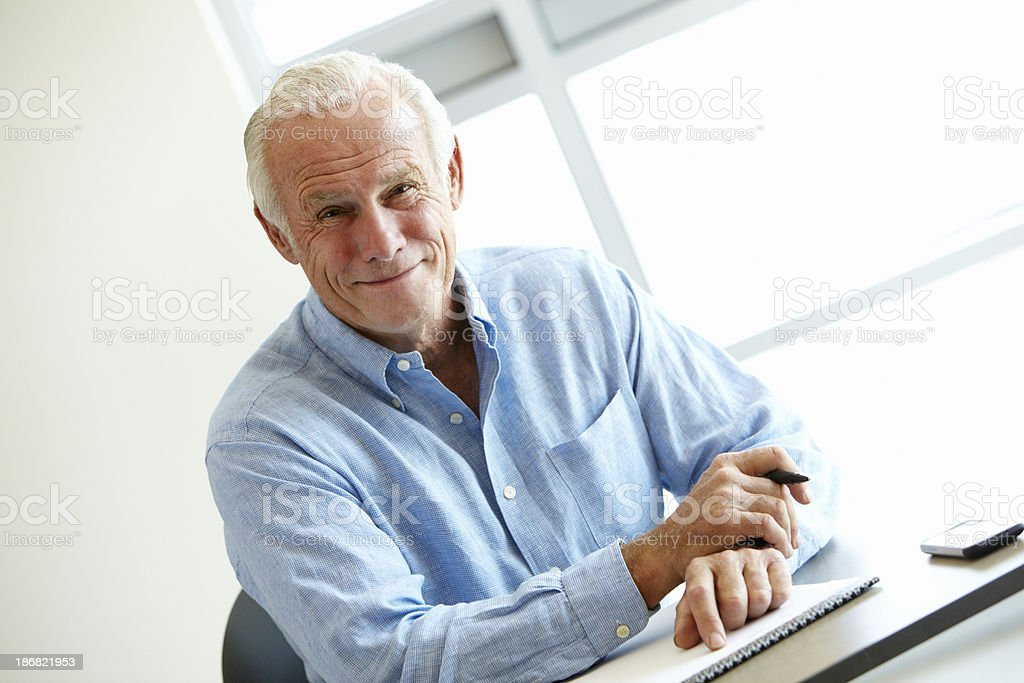 Mature student in class royalty-free stock photo