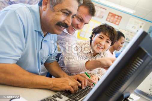 istock Mature students learning computer skills 104399333