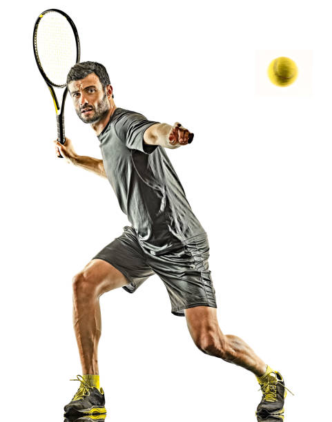 mature tennis player man forehand silhouette isolated white background stock photo