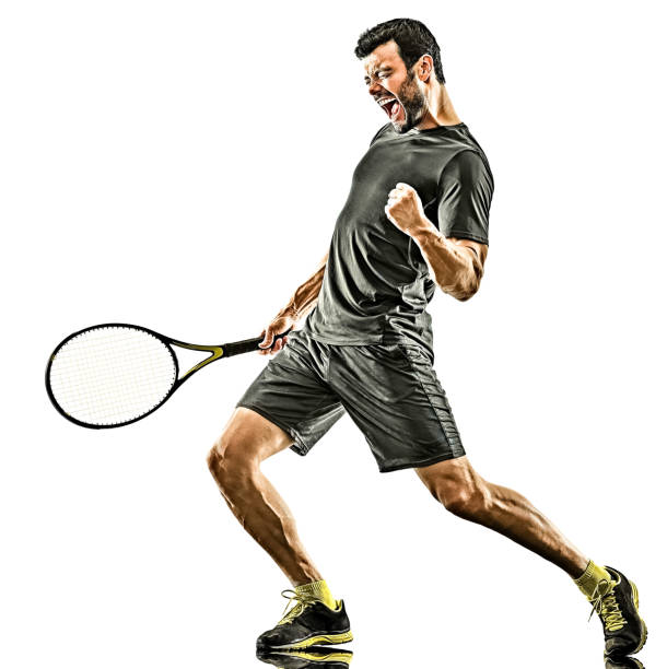 mature tennis player man happy winner strong powerful isolated white background stock photo