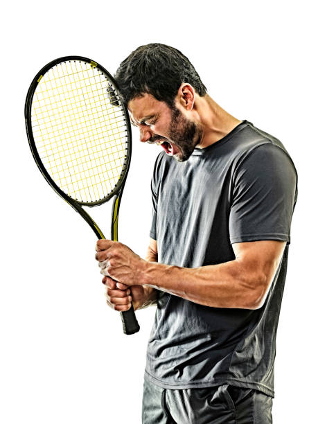 mature tennis player man isolated white background stock photo