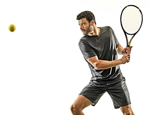 mature tennis player man waist up profile side view isolated white background stock photo