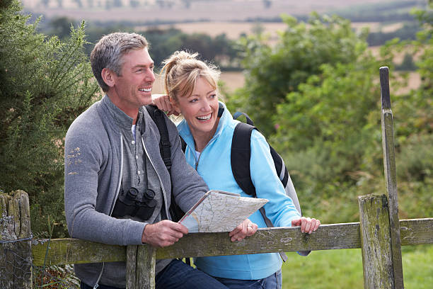 Mature white couple on a walk in the country stock photo