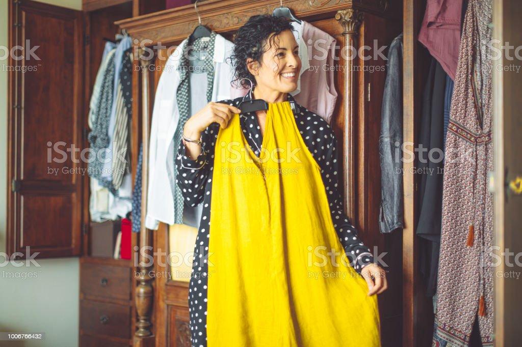 Mature woman at home stock photo