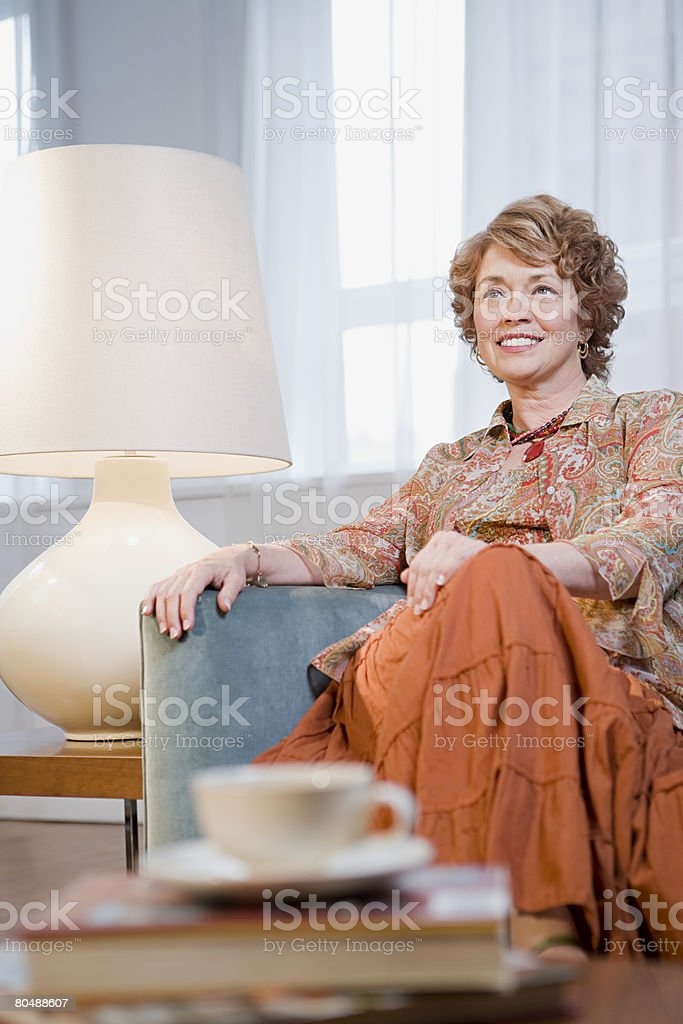 Mature woman at home royalty-free stock photo