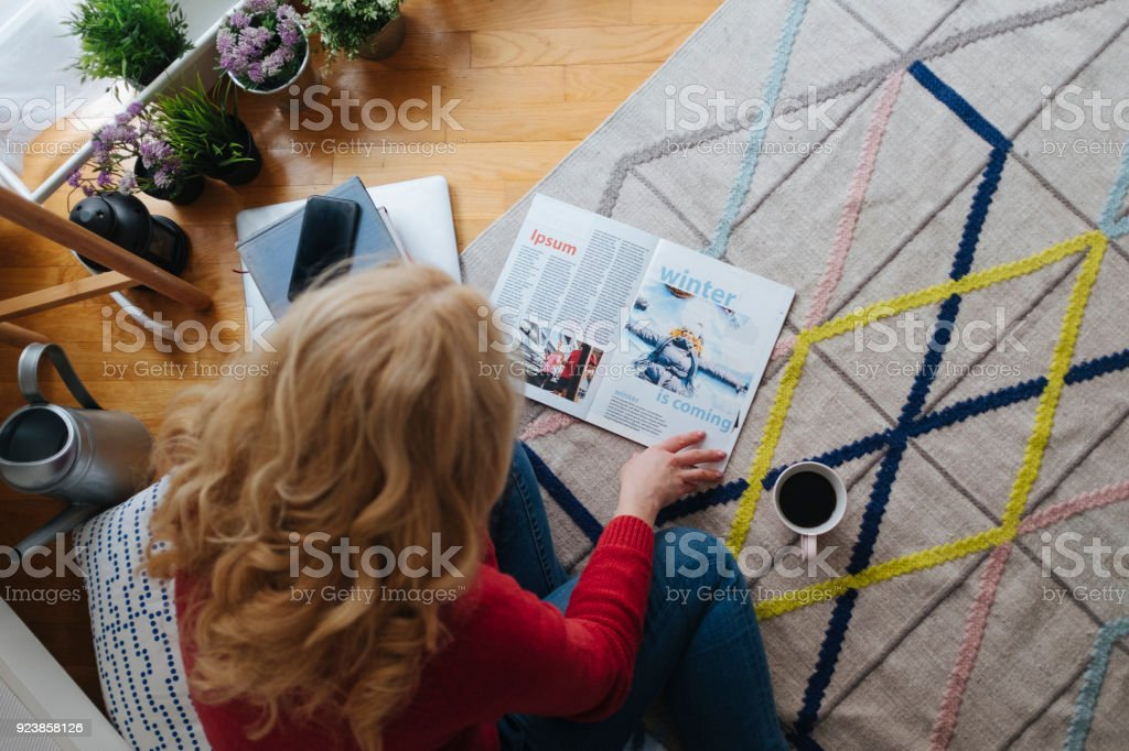 Mature Woman At Home stock photo