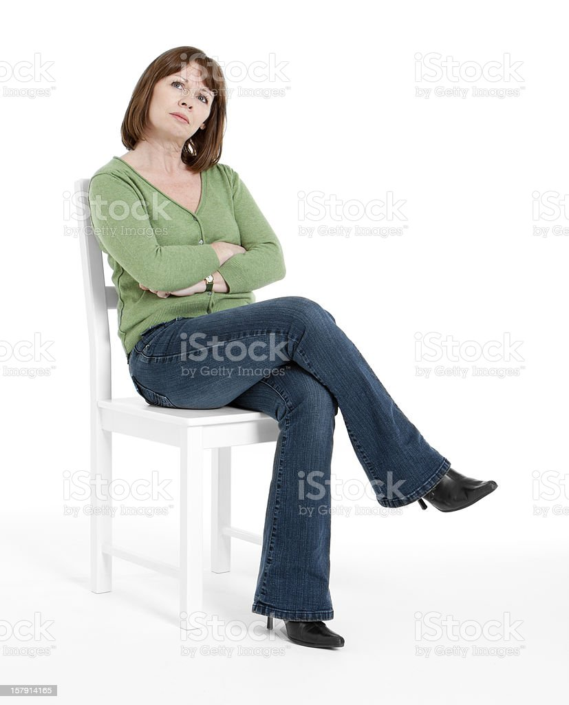 Mature woman concerned stock photo