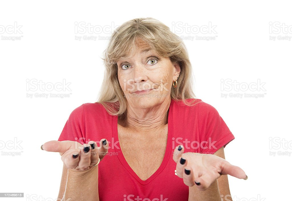 Mature woman confused. royalty-free stock photo