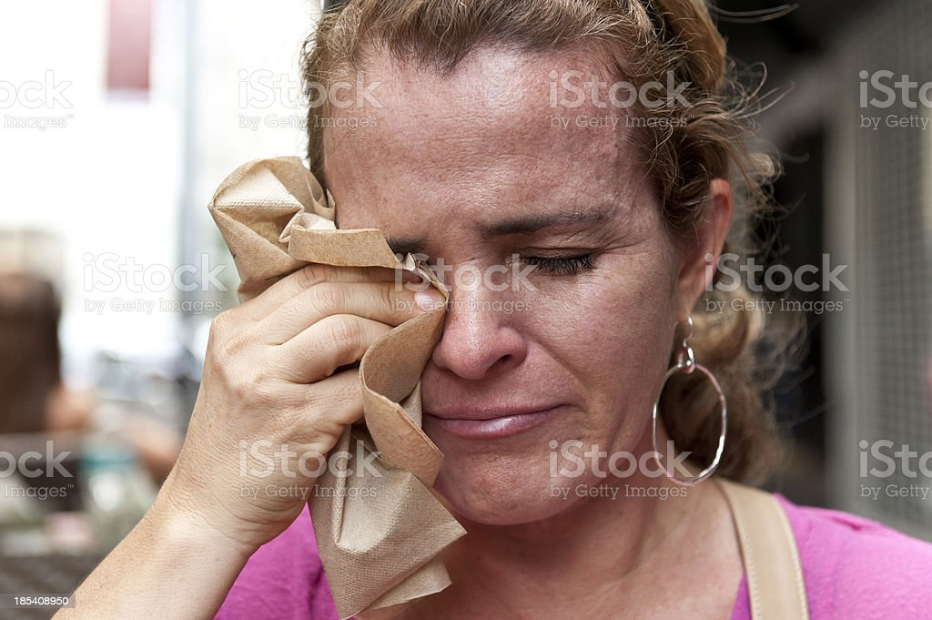 Mature woman crying royalty-free stock photo