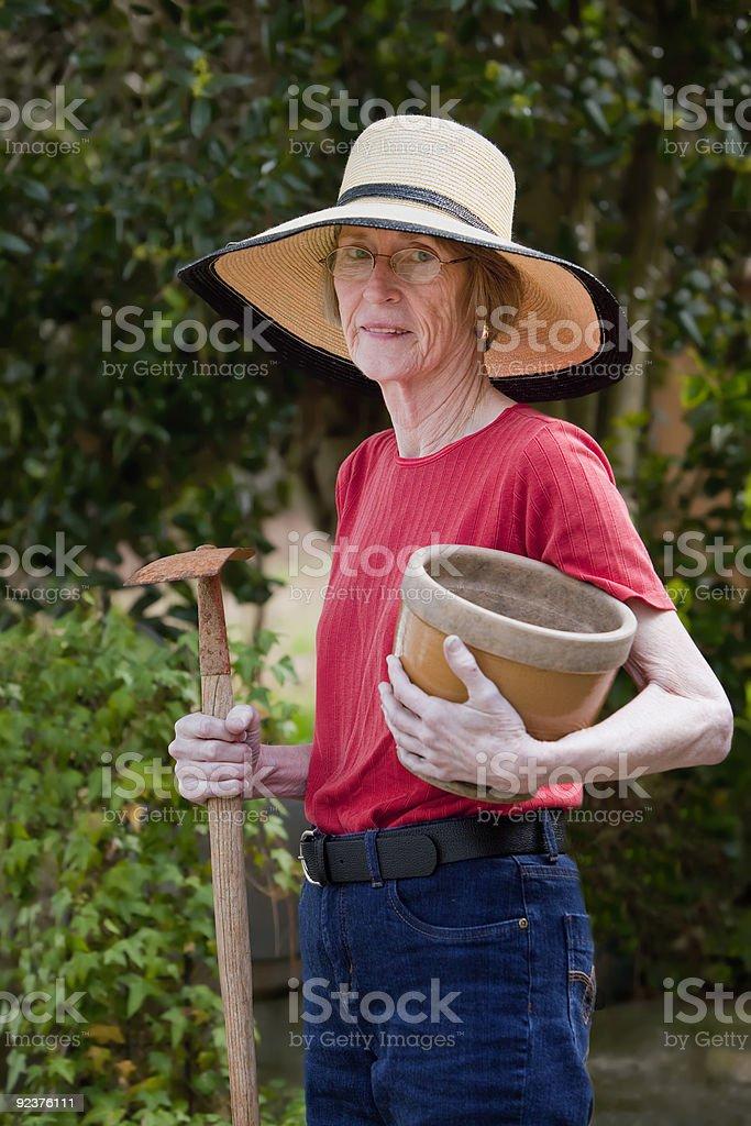 Mature Woman Gardening royalty-free stock photo