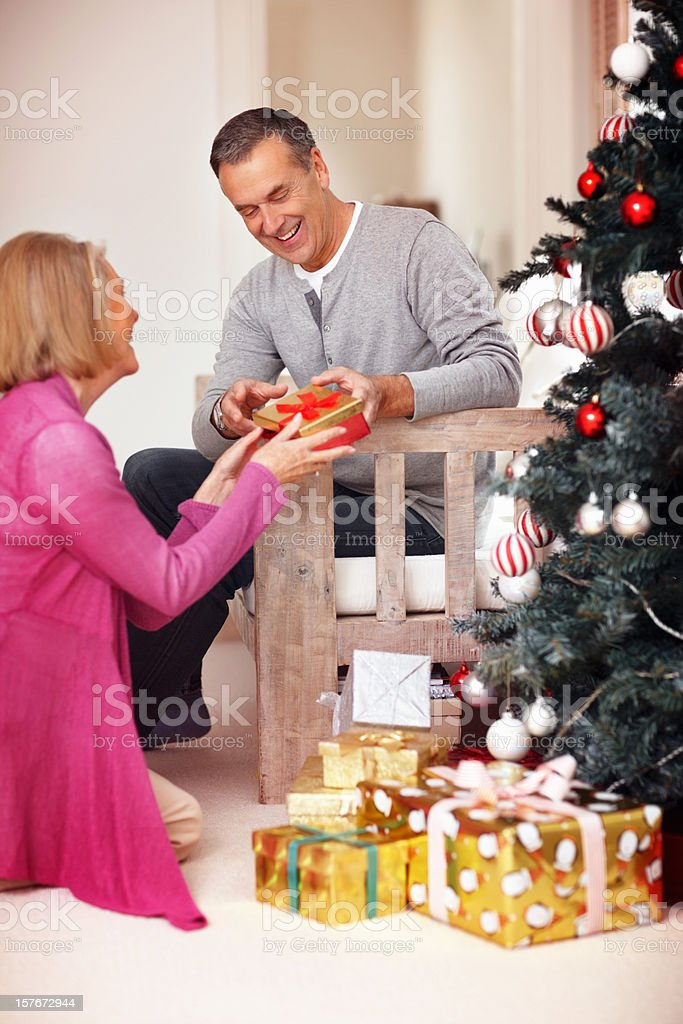 Mature woman gifting her husband on Christmas eve royalty-free stock photo
