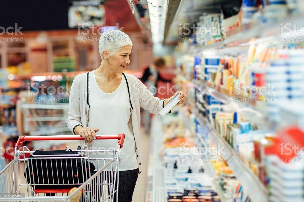 Mature Woman Groceries Shopping. – Foto