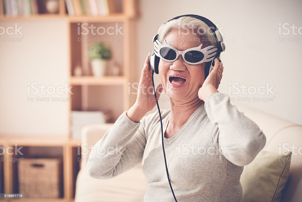Mature woman having fun stock photo