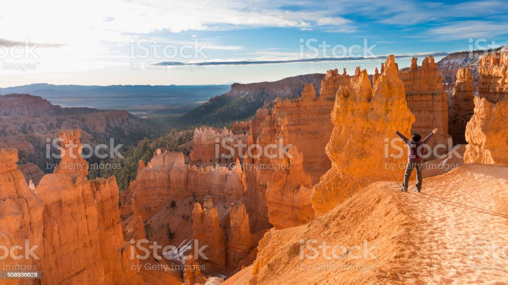 Mature woman hiking Bryce Canyon National Park stock photo