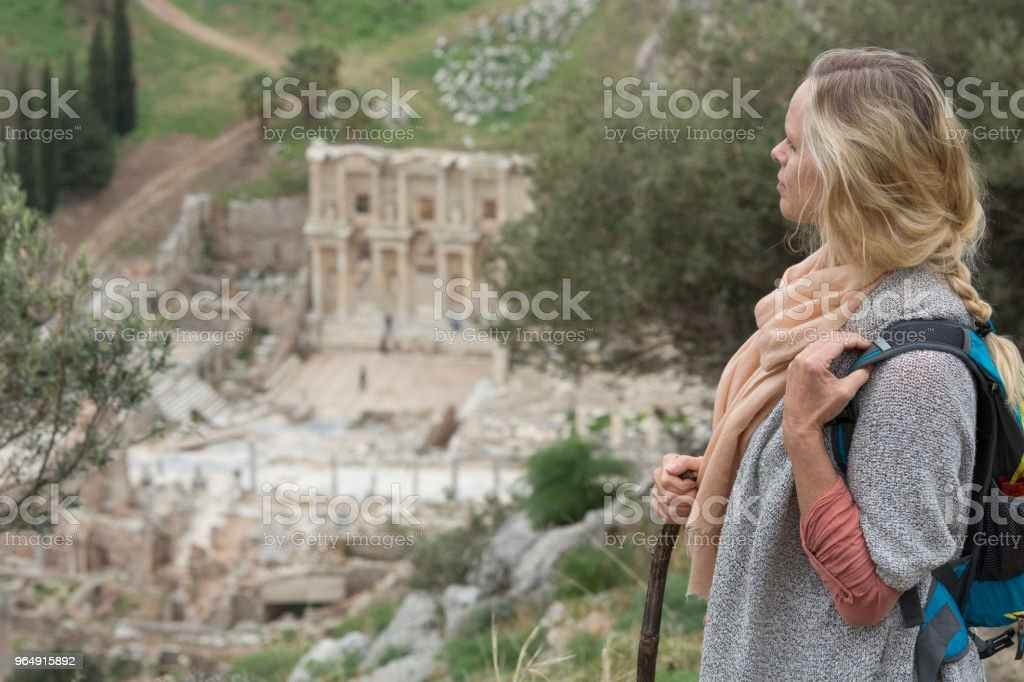 Mature woman hiking in springtime royalty-free stock photo