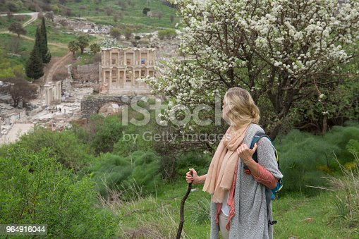 Mature Woman Hiking In Springtime Stock Photo & More Pictures of 50-54 Years