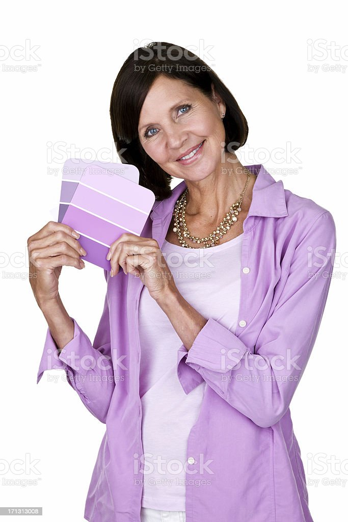 Mature woman holding color cards royalty-free stock photo