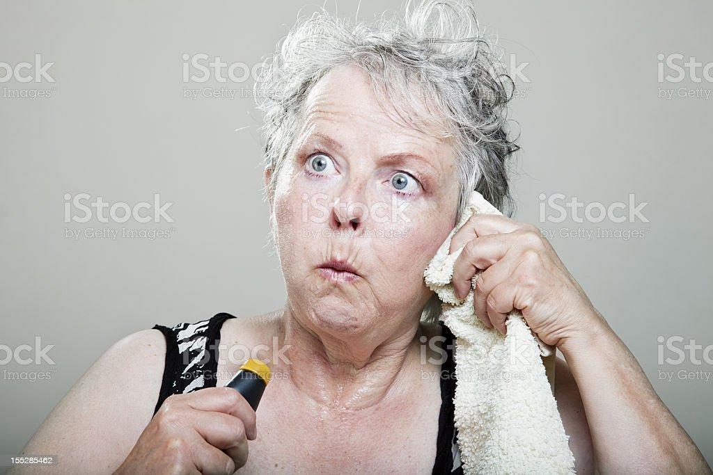 mature woman hot flash menopause portrait royalty-free stock photo